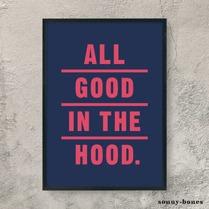 GOOD IN THE HOOD (blue/pink)