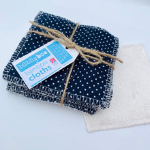 Load image into Gallery viewer, Polka (Navy) - Bamboo Cloths - 7 Pack