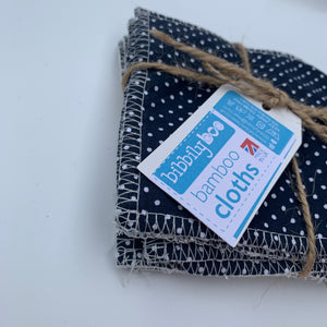 Polka (Navy) - Bamboo Cloths - 7 Pack
