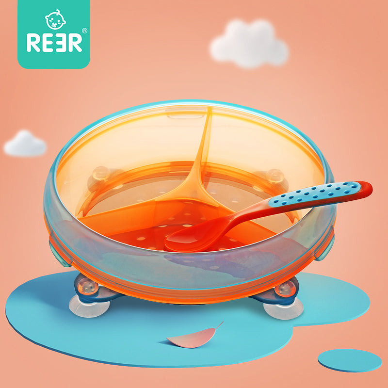 Rotatable Stay Put Section Plate with Spoon Set