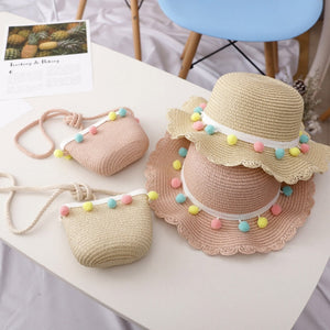 Kids Breathable Pompom Sun Hat With Bag