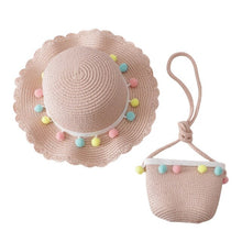Load image into Gallery viewer, Kids Breathable Pompom Sun Hat With Bag