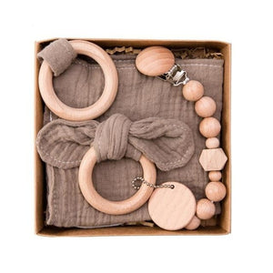 Baby Wooden Rattle Gift Set