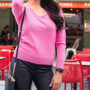 WOMEN'S CASHMERE PINK SCOOP NECK JUMPER