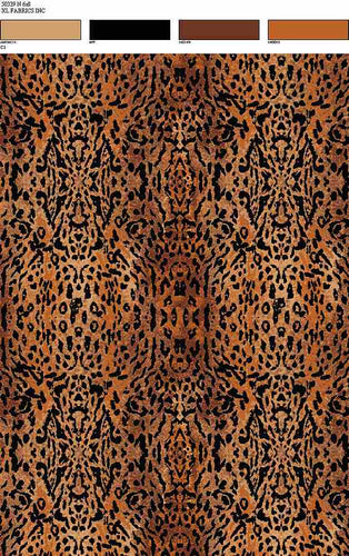 D2052-AN50339 C1 RUST/BLK BRUSH PRINT ANIMAL COZY FABRICS DTY