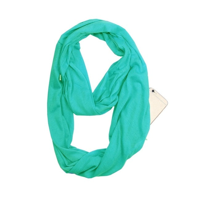 Lightweight Convertible Infinity Scarf Wrap with Hidden Zipper Pocket