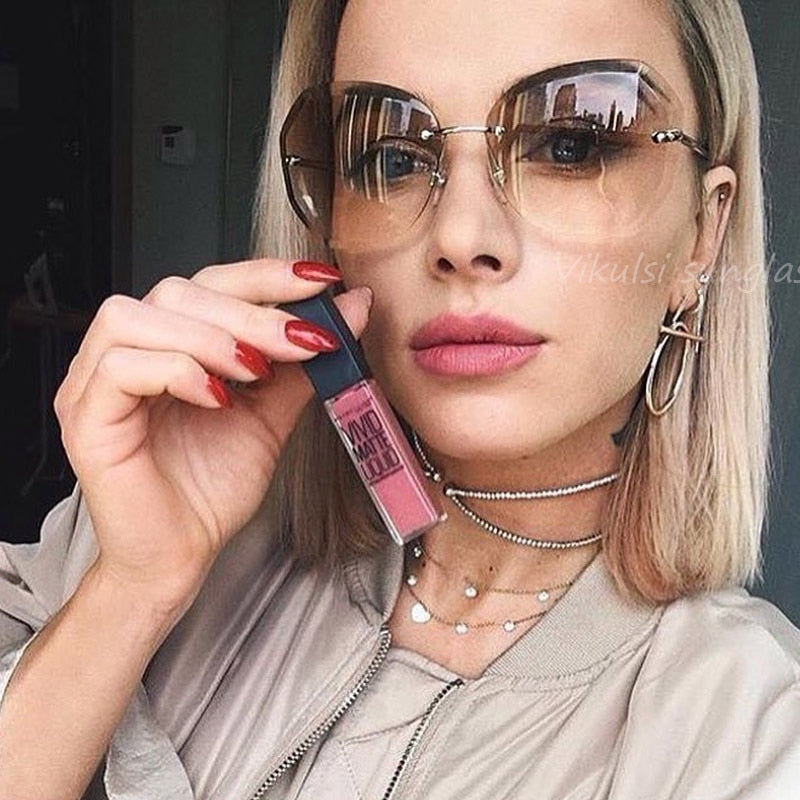 Pink Gradient Rimless Sunglasses For Women
