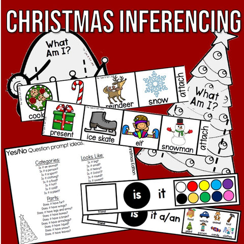 Photo of Christmas Inferencing material: headbands, vocabulary, yes/no question sheet, sentence strips