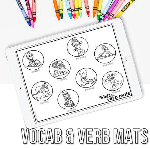 Photo of vocabulary and verb mats on iPad