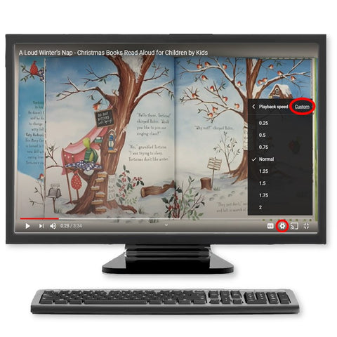 Image of Desktop with YouTube Settings shown