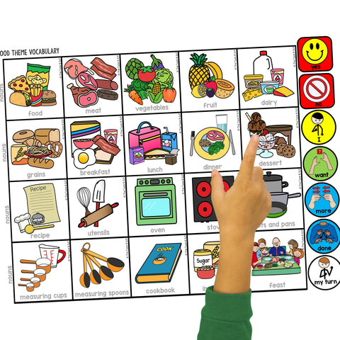 food board with child pointing