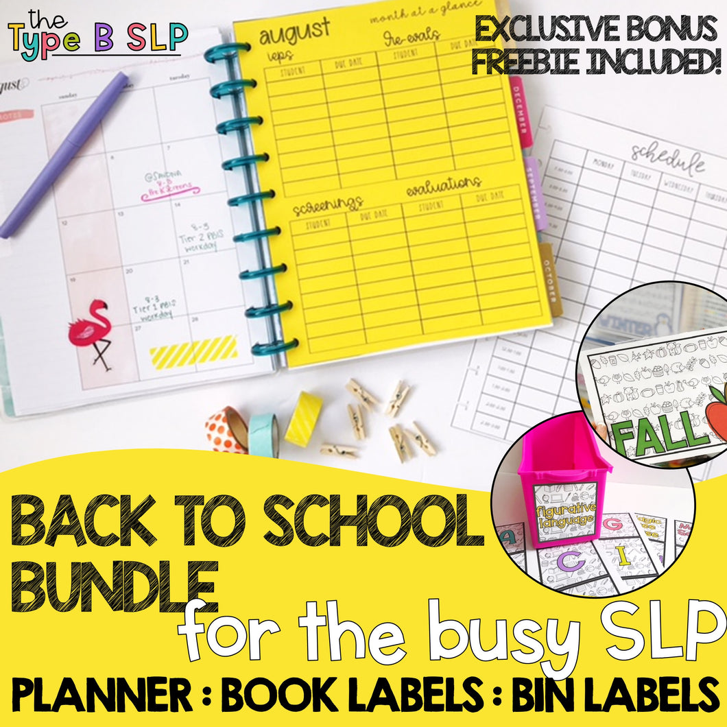 Back to School BUNDLE for the Busy SLP