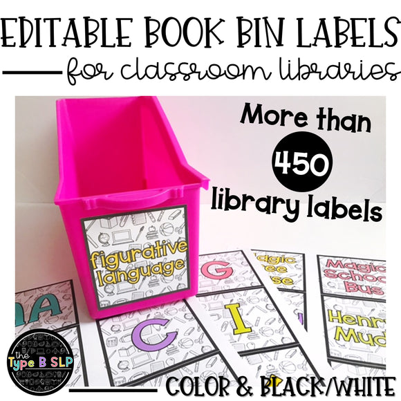 Editable Book Bin Labels, Classroom Library: Color & BW