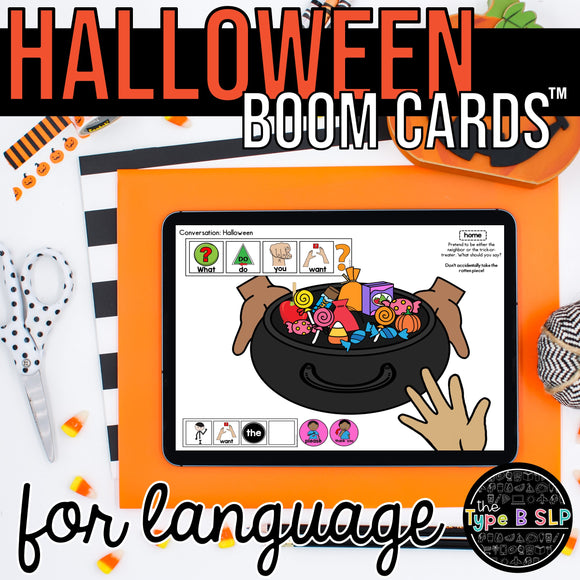 BOOM CARDS™ for Speech Therapy | Halloween Sentence Strips