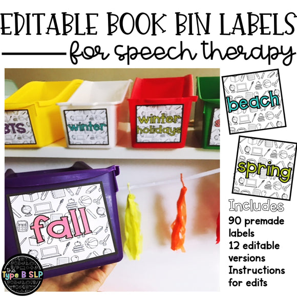Editable Book Bin Labels for Speech Therapy: Color & BW