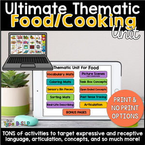 Ultimate Thematic FOOD UNIT: Distance Learning for Speech Therapy