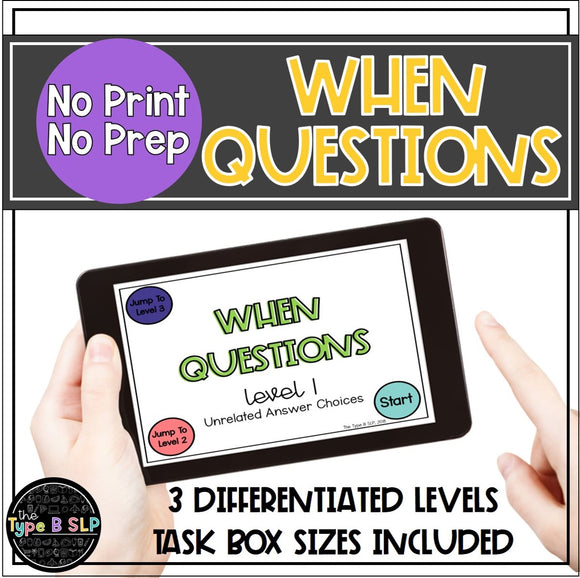 No Print No Prep Digital Speech Therapy WH Questions: