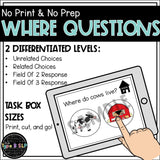 "No Print No Prep Digital Speech Therapy WH Questions: ""Where"" Set"