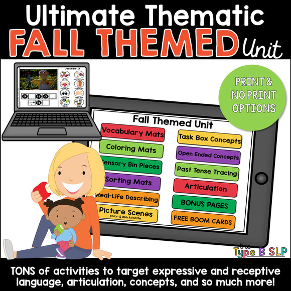 Ultimate Thematic FALL UNIT for Speech Therapy and Distance Learning