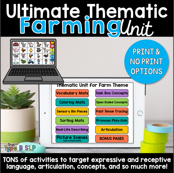 Ultimate Thematic FARMING UNIT: Distance Learning for Speech Therapy