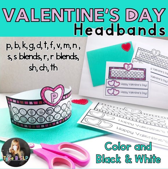 Valentine's Day Speech Therapy Articulation Headbands for Speech Therapy