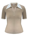 Short Sleeve Nomad Knit Top in Tan
