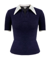 Short Sleeve Nomad Knit Top in Navy