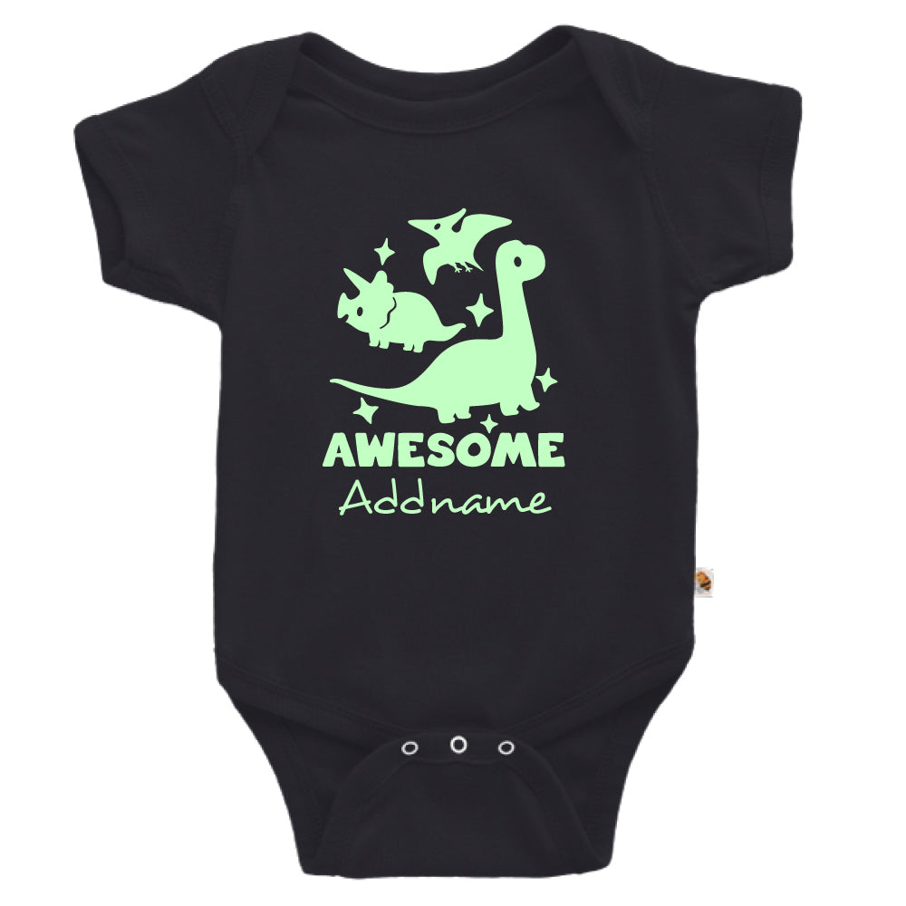 Teezbee.com - Awesome Dinosaurs Glow in the Dark - Romper (Black)
