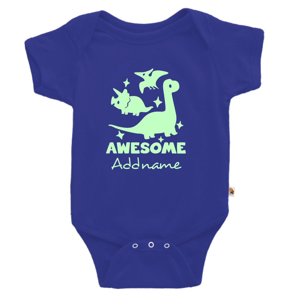 Teezbee.com - Awesome Dinosaurs Glow in the Dark - Romper (Blue)