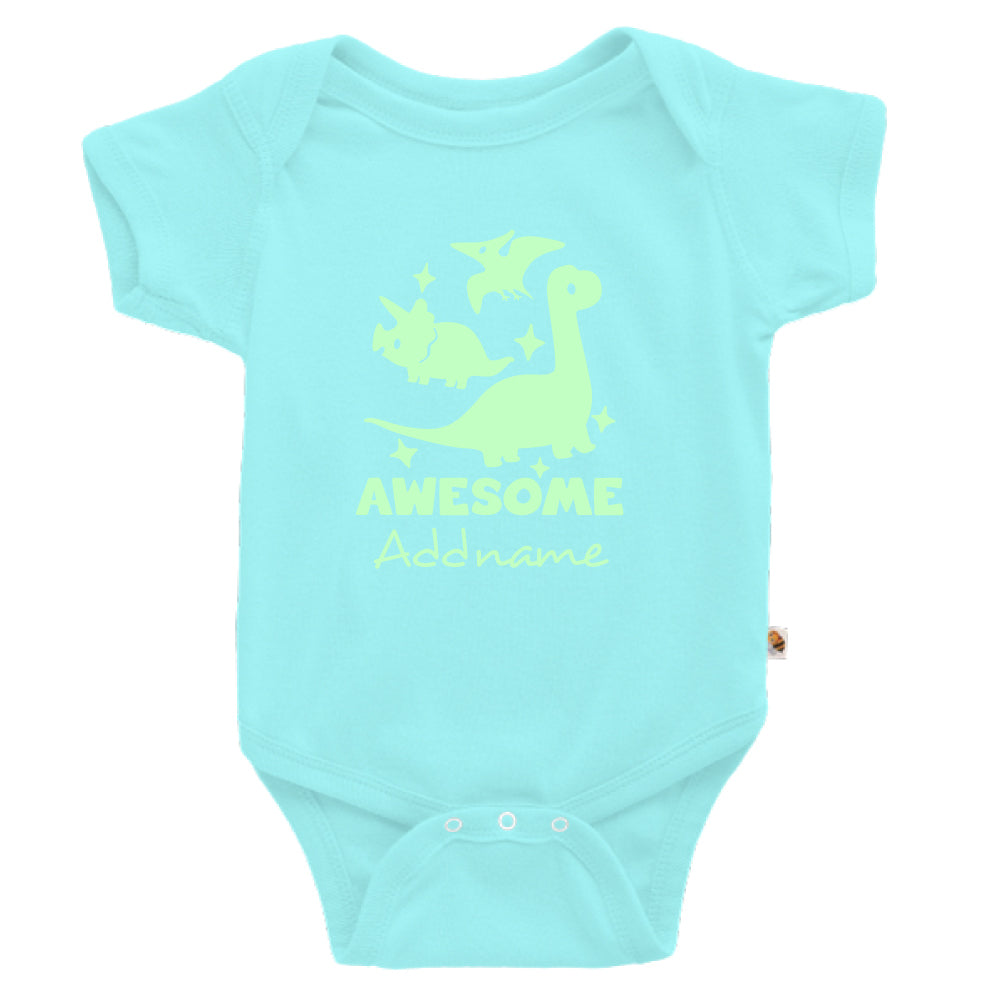 Teezbee.com - Awesome Dinosaurs Glow in the Dark - Romper (Light Blue)