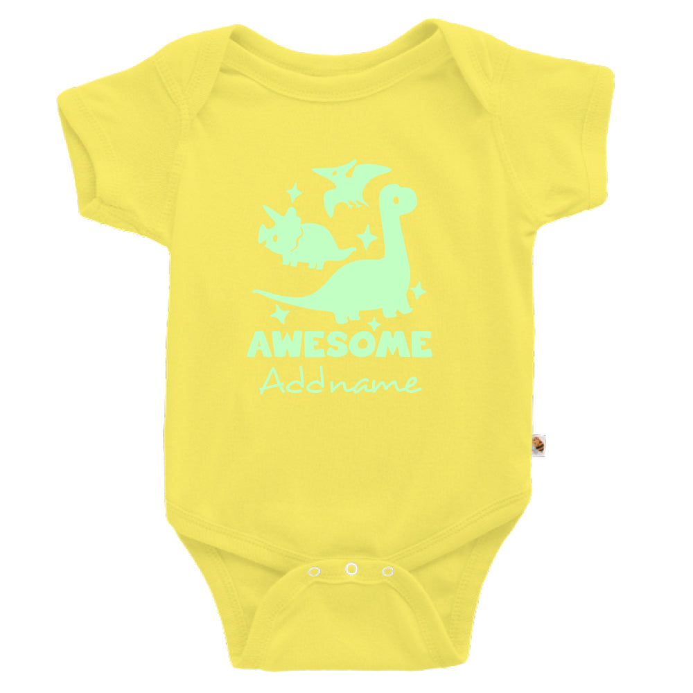 Teezbee.com - Awesome Dinosaurs Glow in the Dark - Romper (Light Yellow)