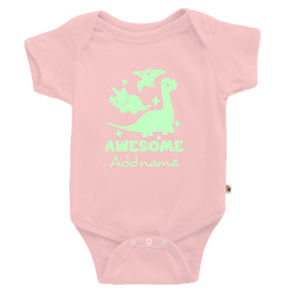 Teezbee.com - Awesome Dinosaurs Glow in the Dark - Romper (Pink)
