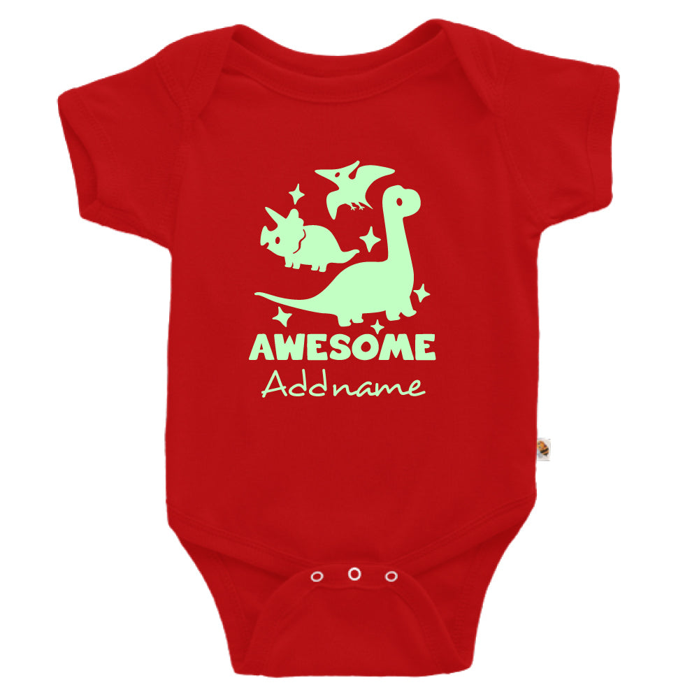 Teezbee.com - Awesome Dinosaurs Glow in the Dark - Romper (Red)