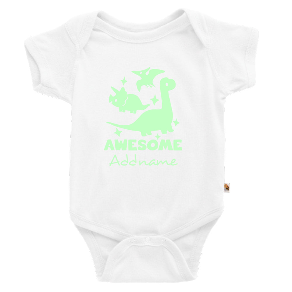 Teezbee.com - Awesome Dinosaurs Glow in the Dark - Romper (White)