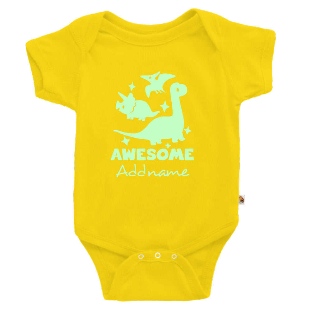 Teezbee.com - Awesome Dinosaurs Glow in the Dark - Romper (Yellow)