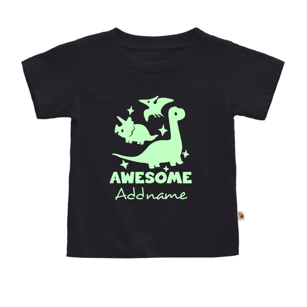 Teezbee.com - Awesome Dinosaurs Glow in the Dark - Kids-T (Black)