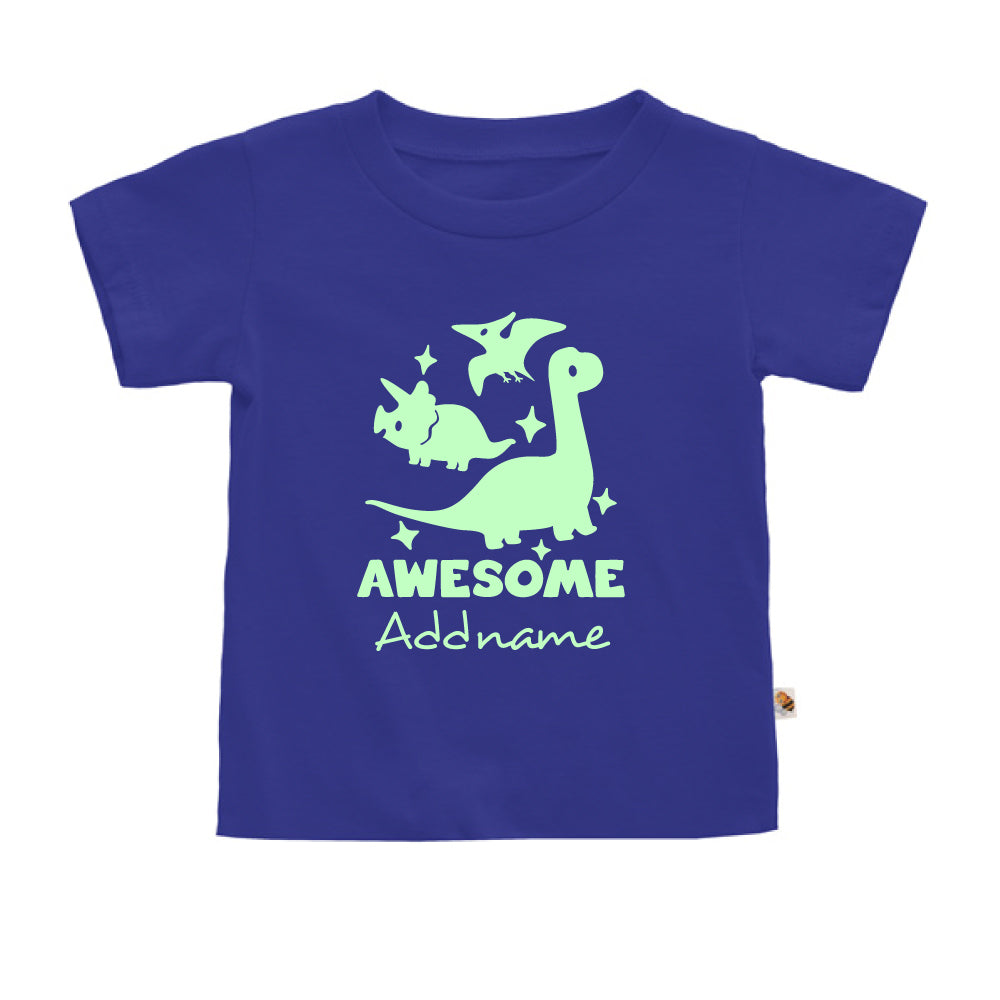 Teezbee.com - Awesome Dinosaurs Glow in the Dark - Kids-T (Blue)