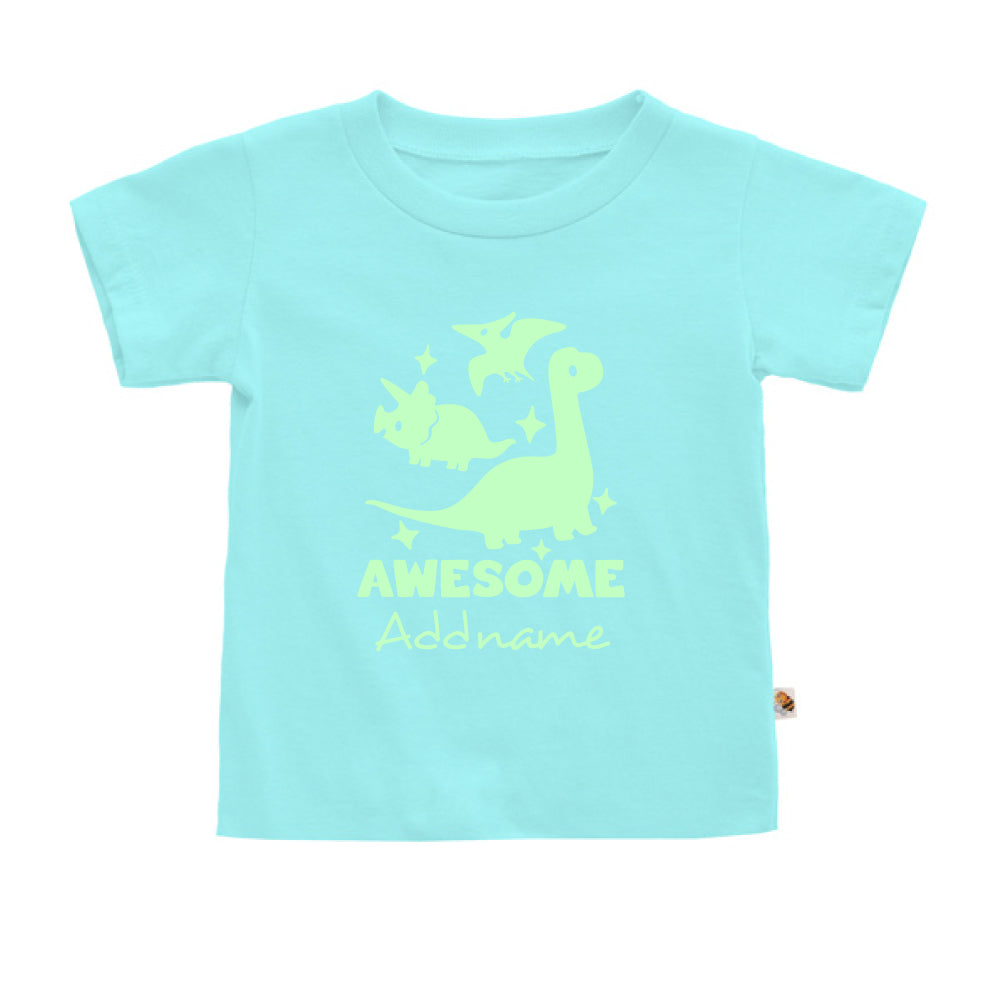 Teezbee.com - Awesome Dinosaurs Glow in the Dark - Kids-T (Light Blue)