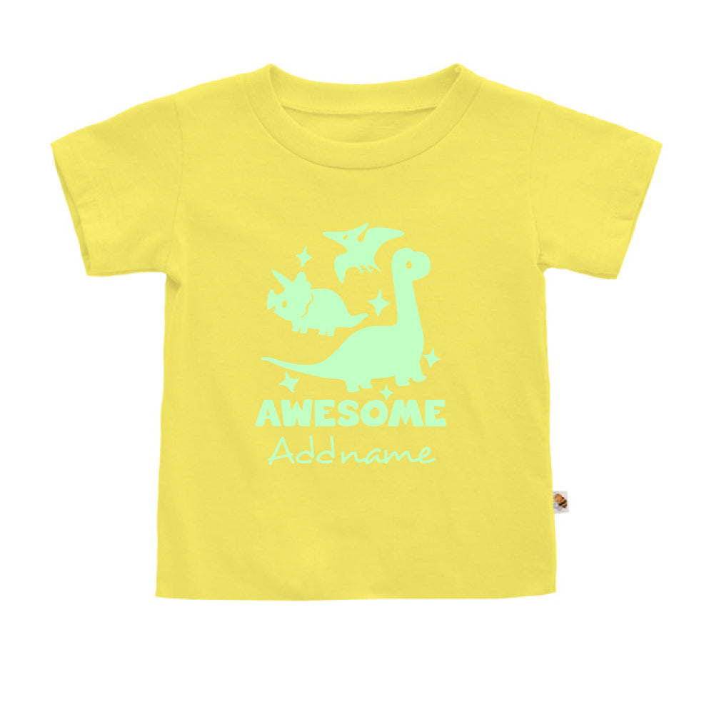 Teezbee.com - Awesome Dinosaurs Glow in the Dark - Kids-T (Light Yellow)