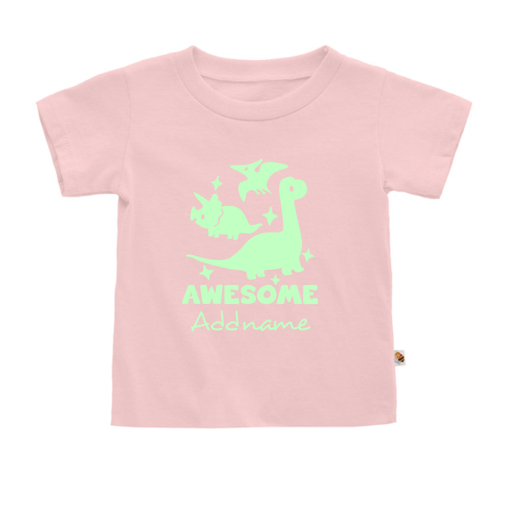 Teezbee.com - Awesome Dinosaurs Glow in the Dark - Kids-T (Pink)