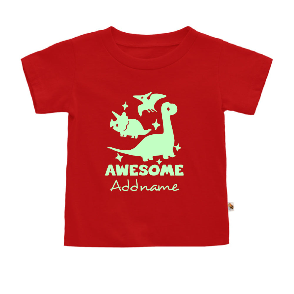Teezbee.com - Awesome Dinosaurs Glow in the Dark - Kids-T (Red)