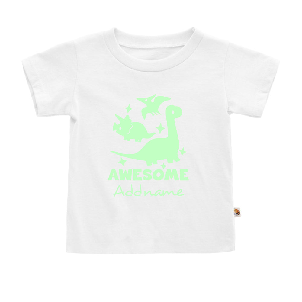 Teezbee.com - Awesome Dinosaurs Glow in the Dark - Kids-T (White)