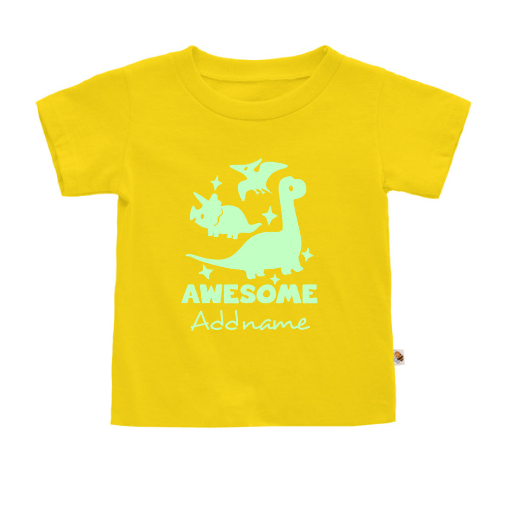 Teezbee.com - Awesome Dinosaurs Glow in the Dark - Kids-T (Yellow)