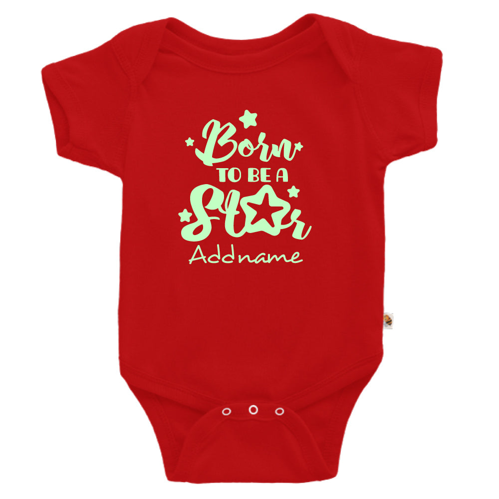 Teezbee.com - Born To Be A Star Glow in the Dark - Romper (Red)