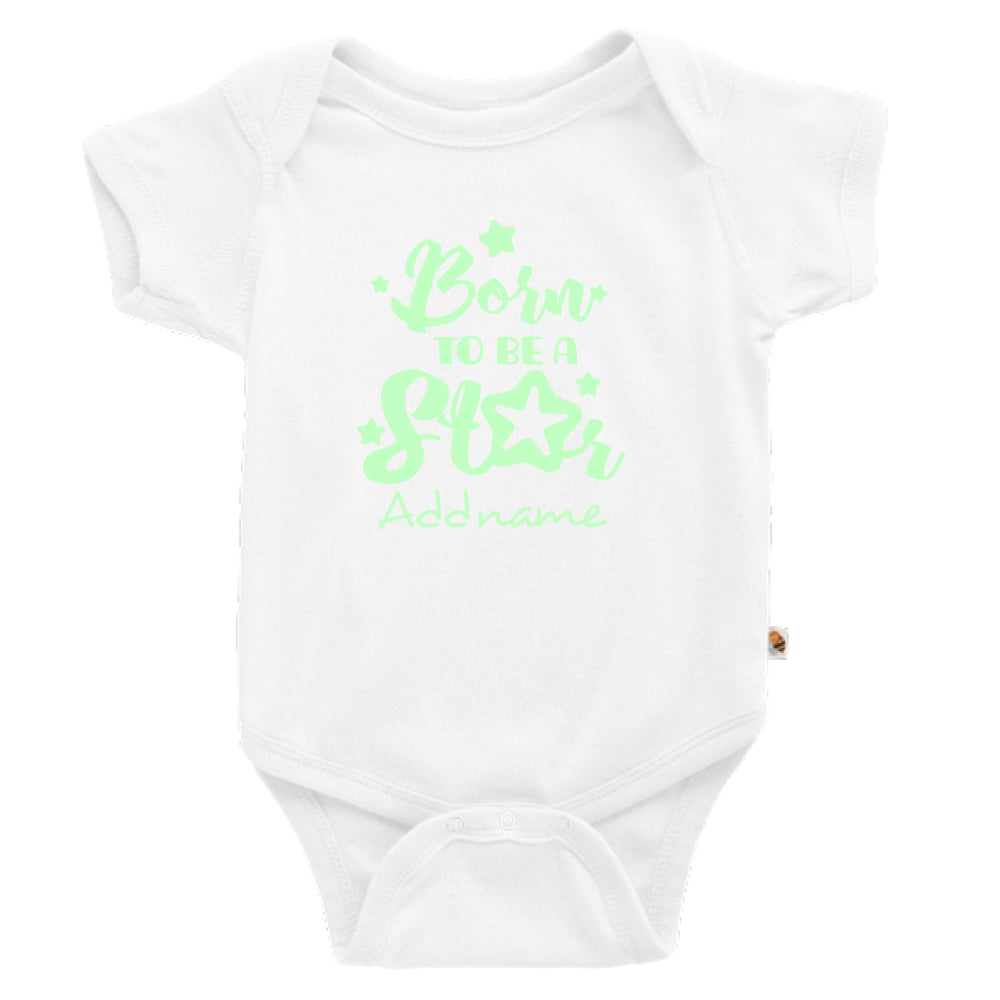 Teezbee.com - Born To Be A Star Glow in the Dark - Romper (White)