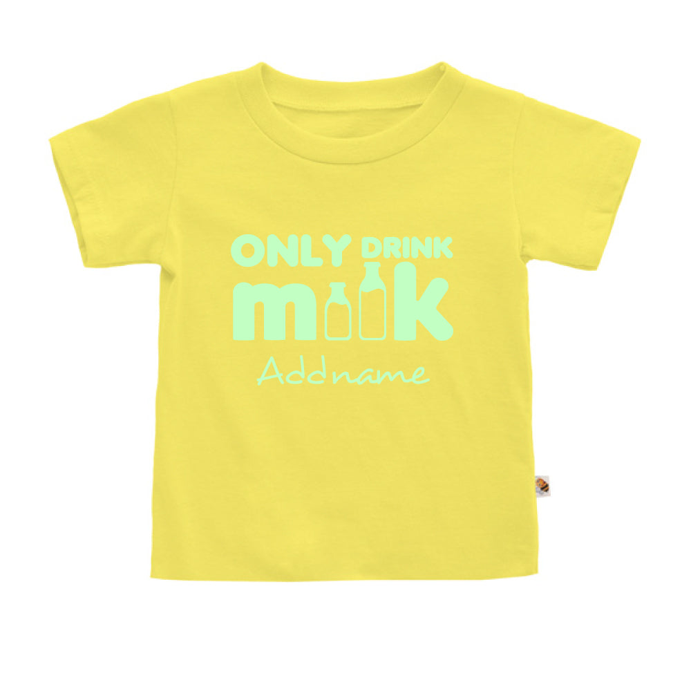 Teezbee.com - Only Drink Milk Glow in the Dark - Kids-T (Light Yellow)