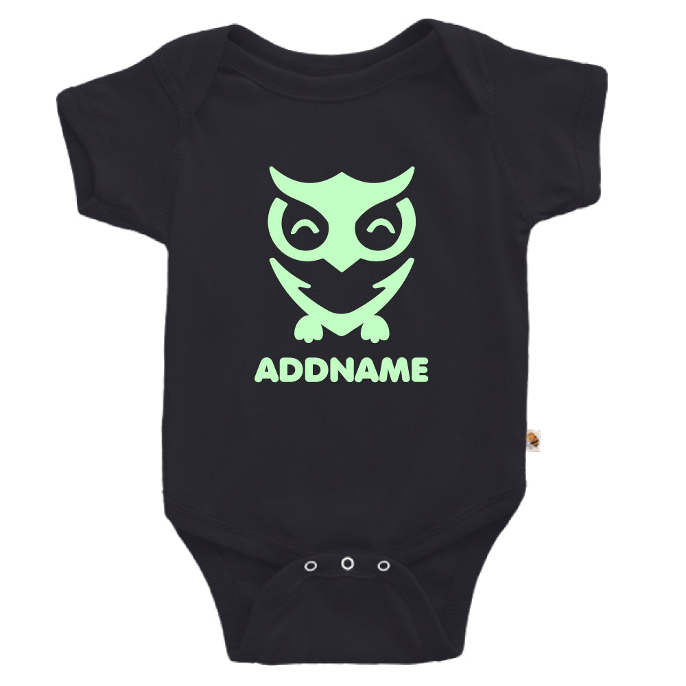 Teezbee.com - Cute Owl Bird Glow in the Dark - Romper (Black)
