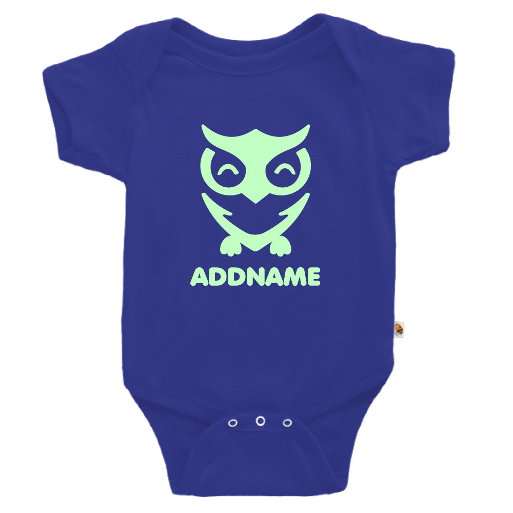 Teezbee.com - Cute Owl Bird Glow in the Dark - Romper (Blue)
