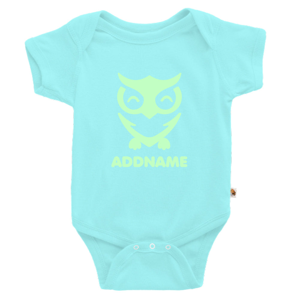 Teezbee.com - Cute Owl Bird Glow in the Dark - Romper (Light Blue)