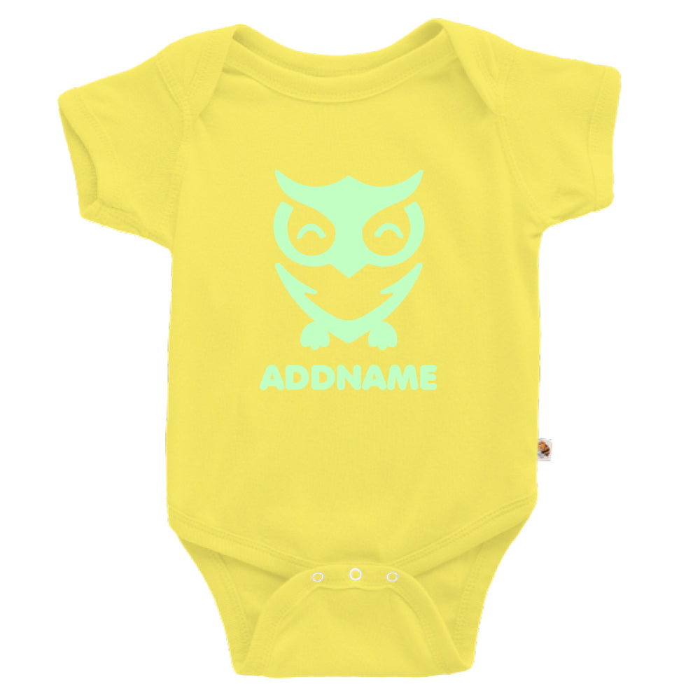 Teezbee.com - Cute Owl Bird Glow in the Dark - Romper (Light Yellow)